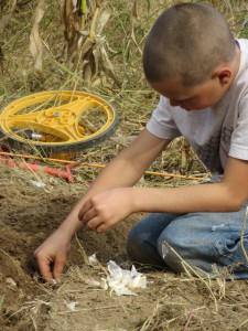 My eldest son planting.